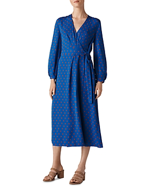 Whistles Maria Dot-Printed Silk Wrap Dress