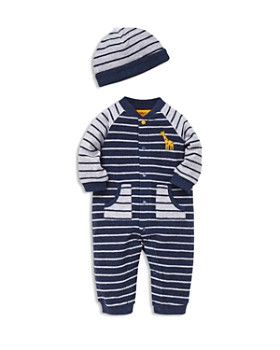 Little Me - Boys' French Terry Striped Hat & Coverall Set - Baby