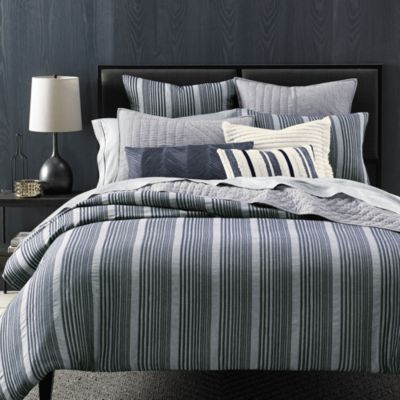 Oake Chambray Pleat Full Queen Duvet Comforter Cover