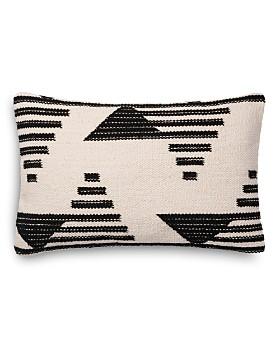 "Loloi -  Magnolia Embroidered Black & White Decorative Pillow, 13"" x 21"""
