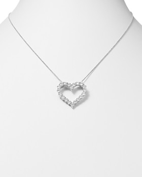 Bloomingdale's - Diamond Heart Pendant Necklace in 14K White Gold, 3.0 ct. t.w.- 100% Exclusive