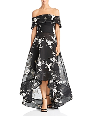 Bronx And Banco Off-the-Shoulder Embroidered Ball Gown