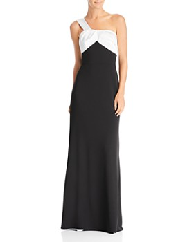 Adrianna Papell - One-Shoulder Color-Block Gown