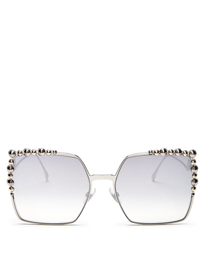 b4a7af8aaf9f6 Fendi - Women s Embellished Mirrored Square Sunglasses