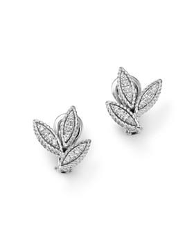 Roberto Coin - 18K White Gold Diamond Petals Diamond Earrings - 100% Exclusive