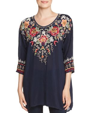 JOHNNY WAS SHAYLEE EMBROIDERED BLOUSE