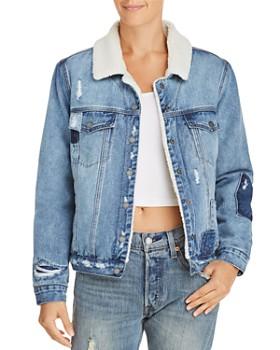BLANKNYC - Faux Fur-Lined Distressed Denim Jacket