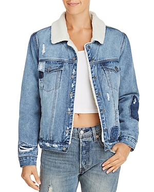 Blanknyc Faux Fur-Lined Distressed Denim Jacket