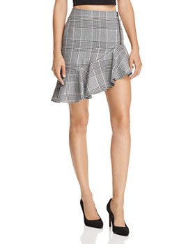 Endless Rose - Asymmetric Glen Plaid Skirt