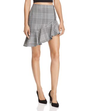 ASYMMETRIC GLEN PLAID SKIRT