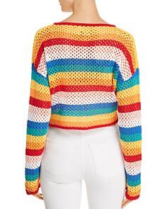 Honey Punch - Rainbow-Stripe Cropped Crochet Sweater