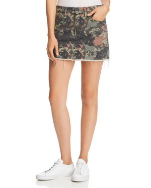 The Viper Camo Frayed Denim Mini Skirt, German Camo