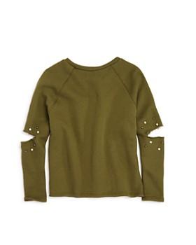 Vintage Havana - Girls' Distressed Embellished Fleece Sweatshirt - Big Kid