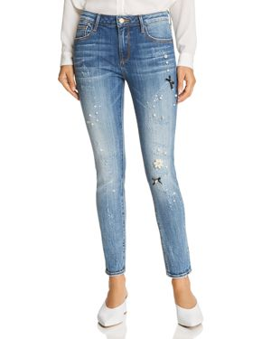 Aqua Embellished Distressed Skinny Jeans in Medium Wash - 100% Exclusive 3055685