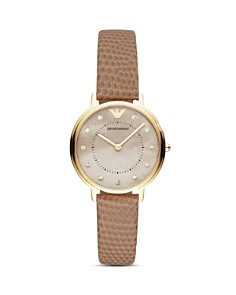 Emporio Armani - Mother-of-Pearl & Faux Snakeskin-Embossed Strap Watch, 32mm
