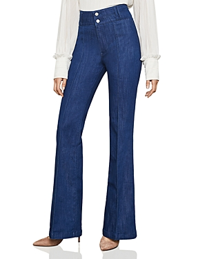 Bcbgmaxazria Pintuck Flared Jeans in Rinse Indigo