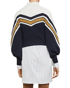 BCBGMAXAZRIA - Varsity Striped Cropped Sweater- 100% Exclusive