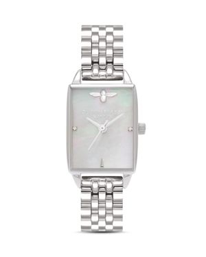 OLIVIA BURTON Stainless Steel Beehive Watch, 20.5Mm X 25.5Mm in Silver/ Mop/ Silver
