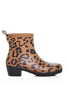 Hunter - Women's Refined Leopard Print Matte Block-Heel Rain Booties