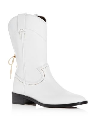 Annika Leather Low-Heel Cowboy Boots