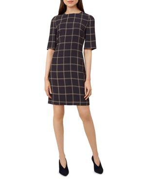 HOBBS LONDON RAEGAN WINDOWPANE SHIFT DRESS