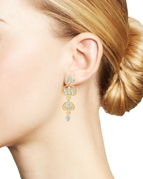 Temple St. Clair - 18K Yellow Gold Perse Moon Blue Moonstone & Diamond Double Drop Earrings