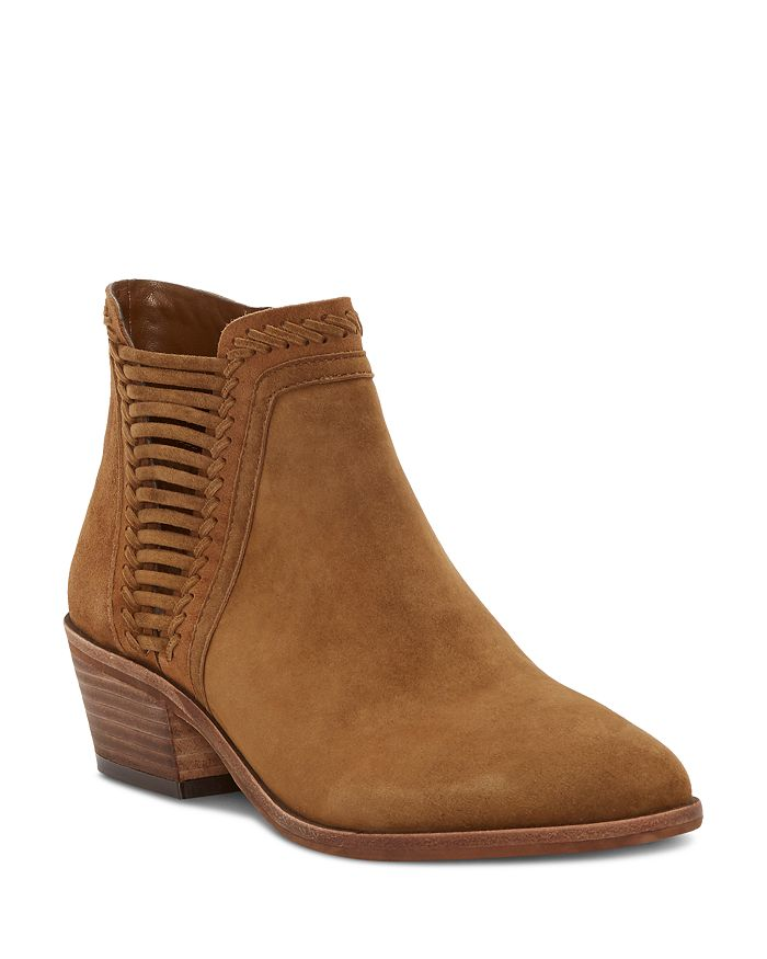 VINCE CAMUTO - Women's Pippsy Almond Toe Suede Low-Heel Booties