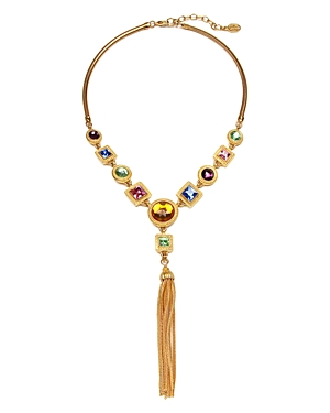 Ben Amun Multi Crystal Tassel Y Necklace