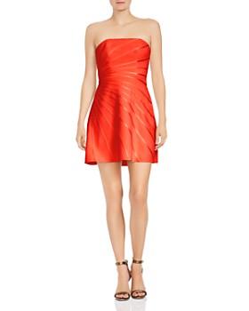 HALSTON HERITAGE - Strapless Satin-Detail Crepe Mini Dress