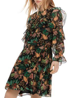 SCOTCH & SODA Forest Print Ruffle Dress in Multi Jungle Print