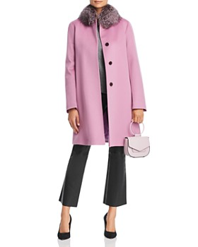 Maximilian Furs - Fleurette Fox Fur Collar Wool Coat