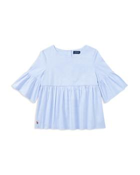 Ralph Lauren - Girls' Ruffled Bell-Sleeve Blouse - Little Kid, Big Kid