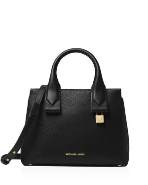 Rollins Small Leather Crossbody Satchel in Black