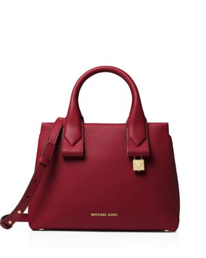 Rollins Small Handbag With Shoulder Strap, Maroon/Gold