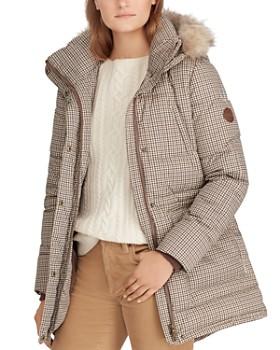 Ralph Lauren - Faux Fur Trim Houndstooth Print Puffer Coat