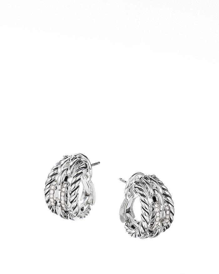 David Yurman - Wellesley Link Hoop Earrings with Pavé Diamonds in Sterling Silver