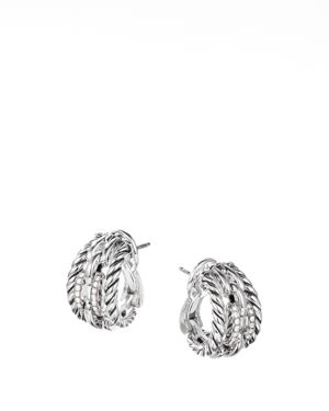 DAVID YURMAN WELLESLEY LINK HOOP EARRINGS WITH PAVE DIAMONDS IN STERLING SILVER