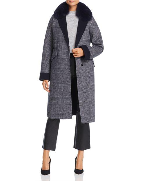 Maximilian Furs - Fox Fur-Collar Plaid Wool Coat - 100% Exclusive