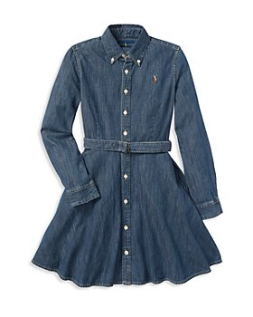Ralph Lauren - Girls' Denim Shirt Dress with Belt - Little Kid, Big Kid