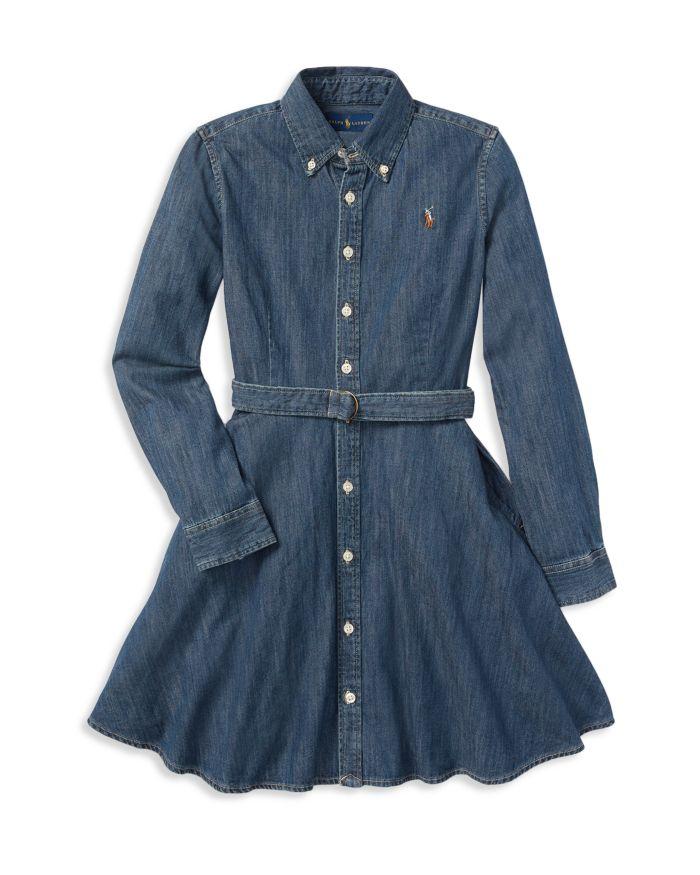 Ralph Lauren Girls' Denim Shirt Dress with Belt - Little Kid, Big Kid  | Bloomingdale's