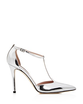 SJP by Sarah Jessica Parker - Women's Taylor Patent Leather T-Strap Pointed Toe Pumps