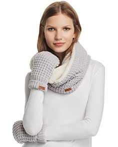 Barbour - Faux Fur-Lined Infinity Scarf & Mitten Set