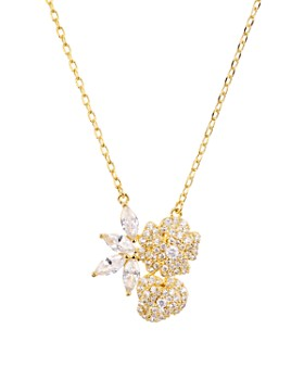 kate spade new york - Pavé Floral Pendant Necklace, 15""