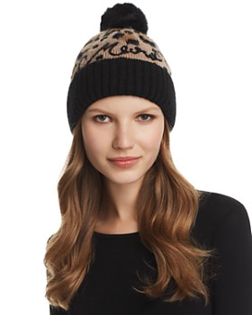 kate spade new york - Faux Fur Pom-Pom Leopard Jacquard Beanie