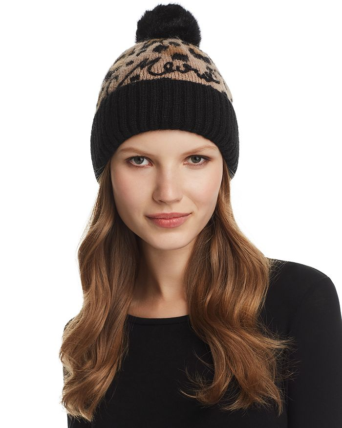 kate spade new york Faux Fur Pom-Pom Leopard Jacquard Beanie ... 236e59facc3