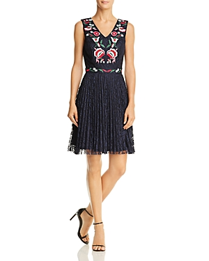 nanette Nanette Lepore Embroidered Lace Fit-and-Flare Dress