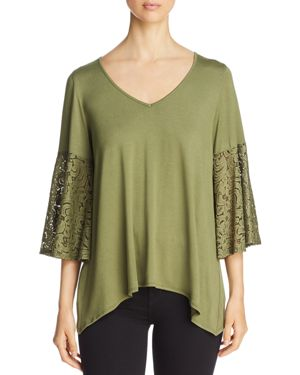 STATUS BY CHENAULT Status By Chenault Lace Bell Sleeve Top - 100% Exclusive in Olive