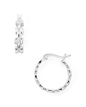 Chain-Effect Sterling Silver Hoop Earrings