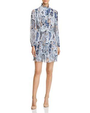 Deneuve Ruffle-Trim Floral-Print Dress, Blue Happy