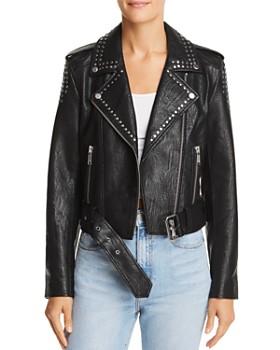 Pistola - Tracy Studded Cropped Faux Leather Moto Jacket